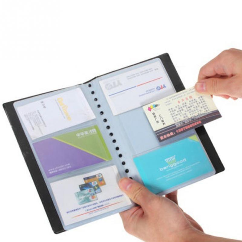 120pockets Credit Card Holder Book PU Leather Hasp Unisex ID Cards Holders Package Card Organizer Manager Clips