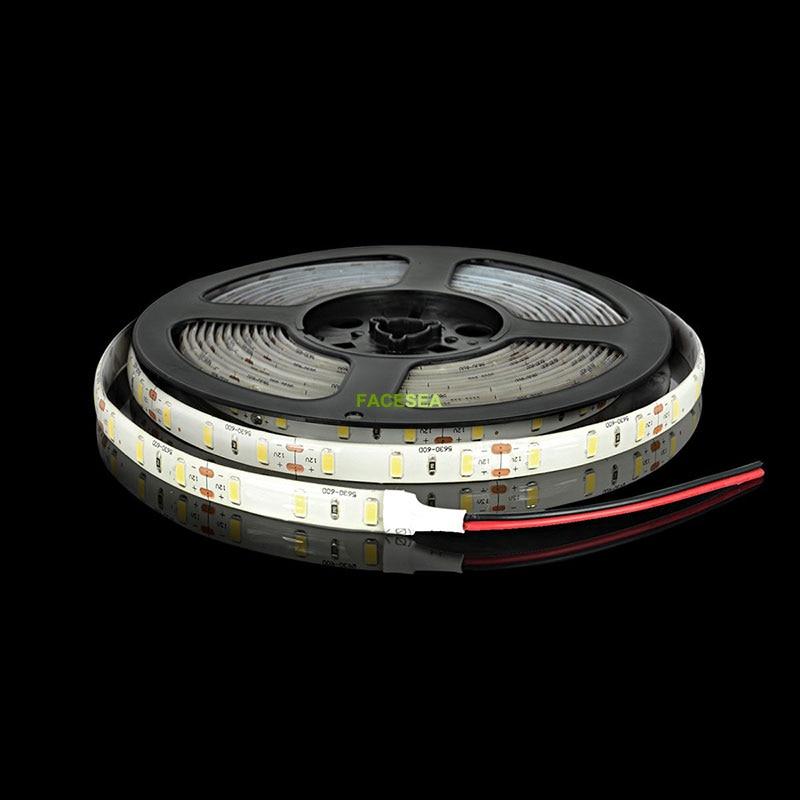 5m / lote Tira de LED impermeable 5630 DC12V Luz LED flexible 60 LED - Iluminación LED