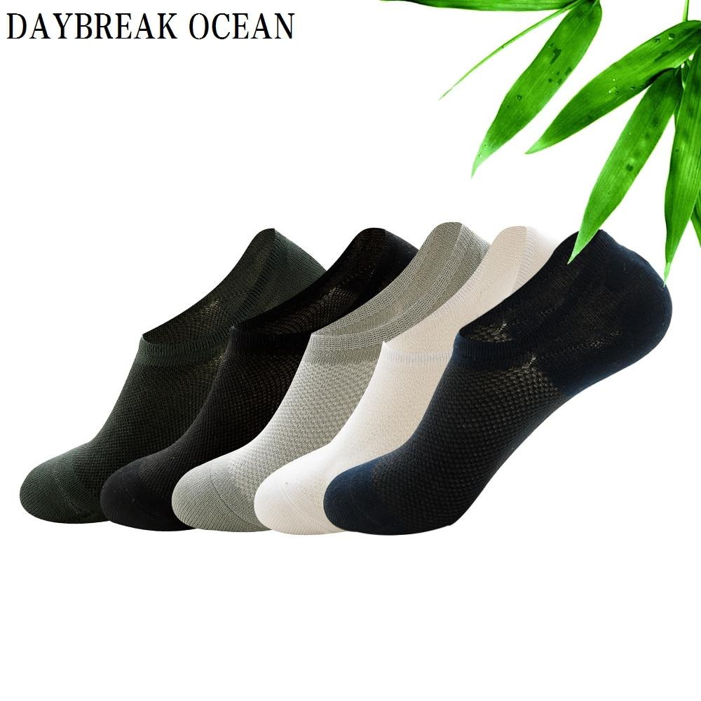 5 Pairs Casual Breathable Bamboo Fiber Mesh Socks Slippers Cotton Non-Slip Silicone Invisible Boat Socks Summer Short Men Socks