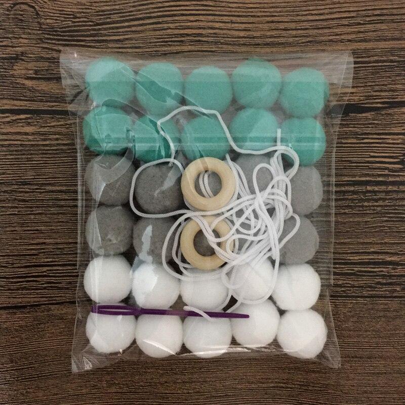 DIY 30pcs Wool Felt Ball 2cm Kids Room Decorative Balls Baby Tent Ornament Hanging Birthday Gift Christmas Tree/Party Wall Decor