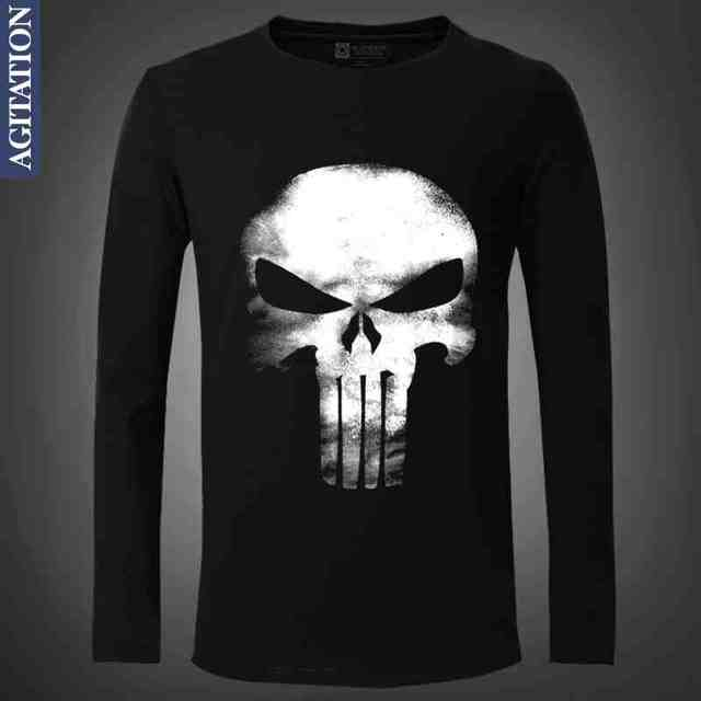 72ef617a Frank Castle Punisher Print Original Design Full Sleeve Fashion Casual  Cotton Tshirt T shirt Top TEE Free Shipping