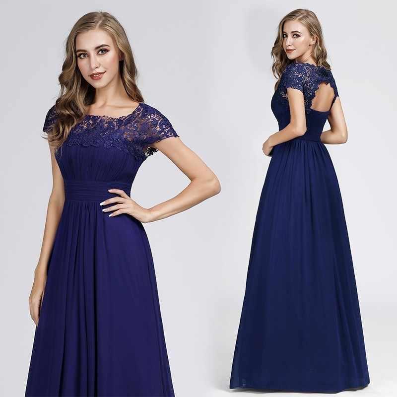 חדש אלגנטי תחרה ארוך שמלות נשף 2019 אונליין O-צוואר קצר שרוול סקסי נשים פורמליות ערב מסיבת שמלות Vestidos דה גאלה 2019