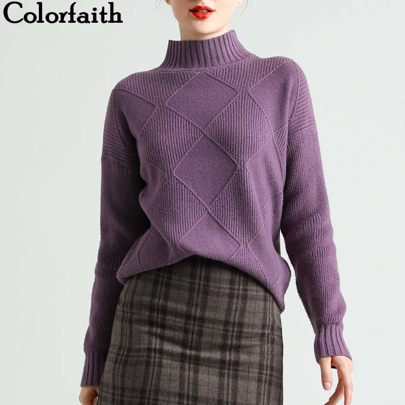 Colorfaith New 2019 Autumn Winter Women's Sweaters Tops Pullovers Korean Style Minimalist Turtleneck Argyle Solid Casual SW1786