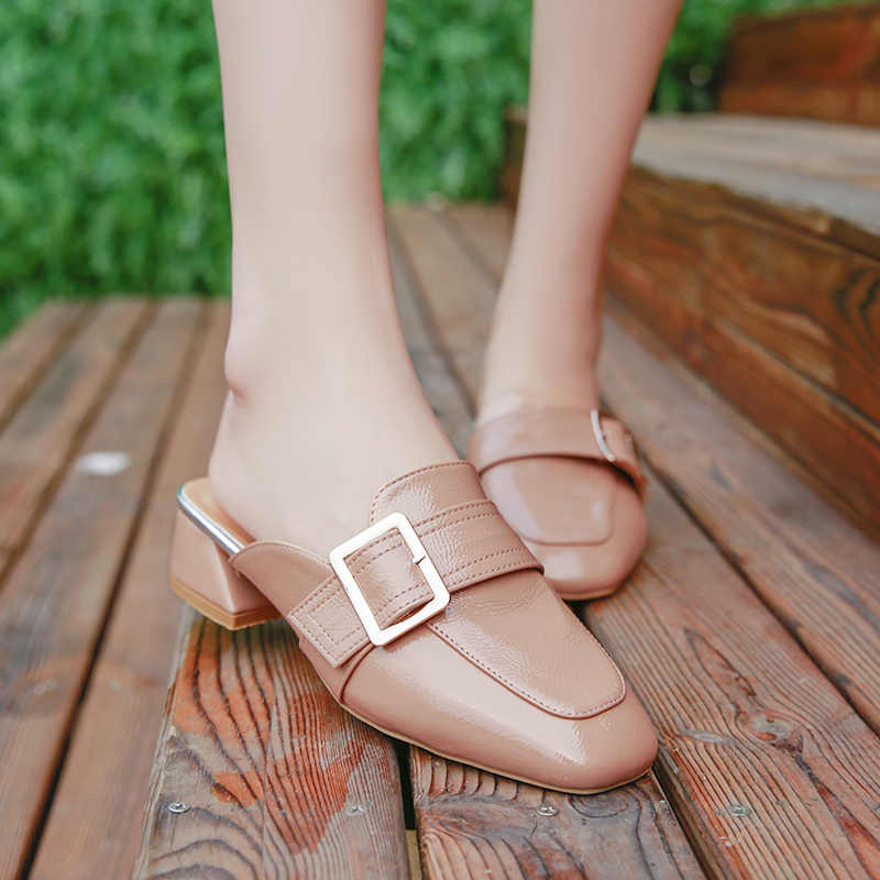 Summer Women Slippers Ladies Mules Square Toe Mid Heels Slip on Casual Shoes Female Metal Buckle Leather Fashion Elegant Slides