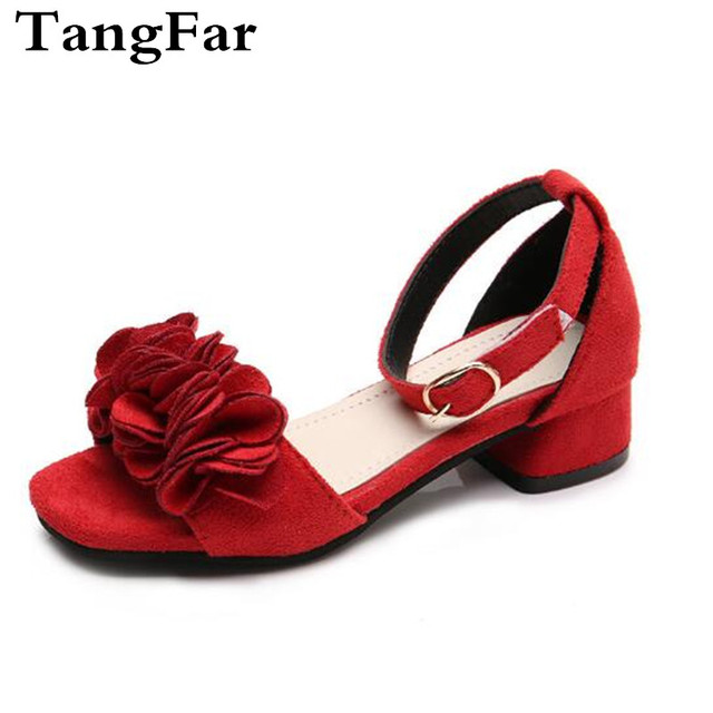 1c0222364f2 US $11.49 32% OFF|Children Summer High Heel Sandals Flower Girls Dance  Shoes Black Toddler Baby Student Party Shoe Sandal-in Sandals from Mother &  ...