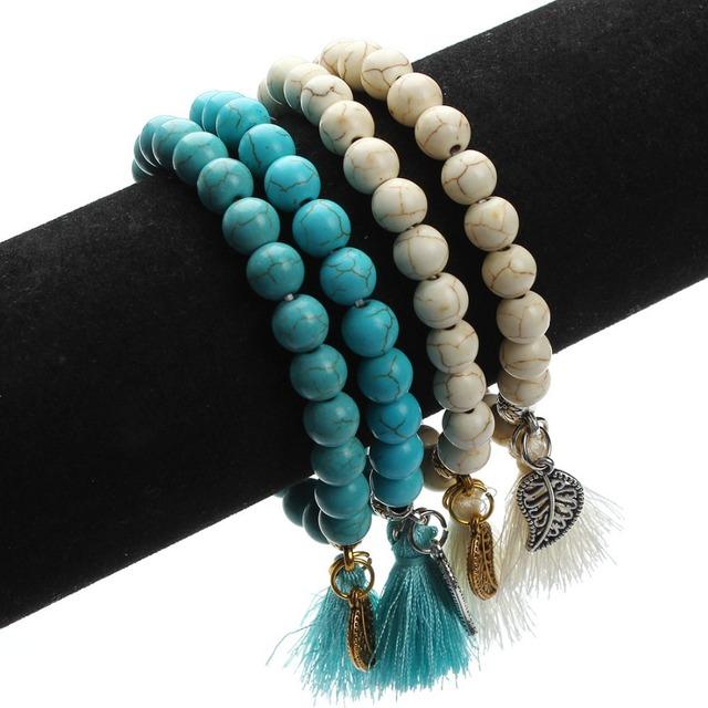 Natural Stone Turquoises Beads Tassel Bracelet