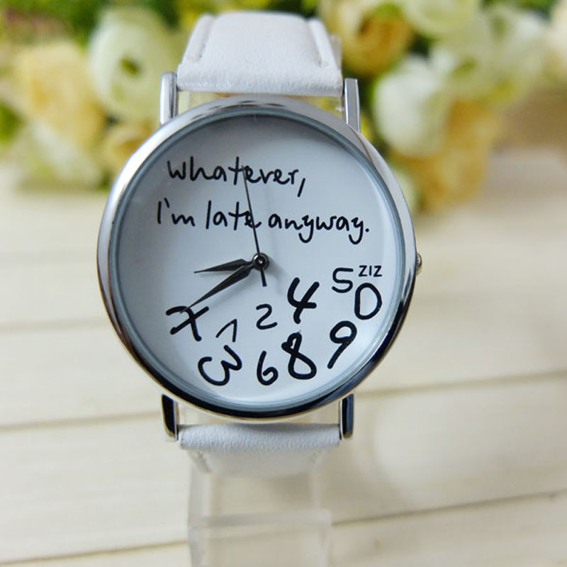 Women's Watches Fashion Quartz Leather Wrist Watch Letter Chart Anyway All I'm Delayed Laides Women's Watch