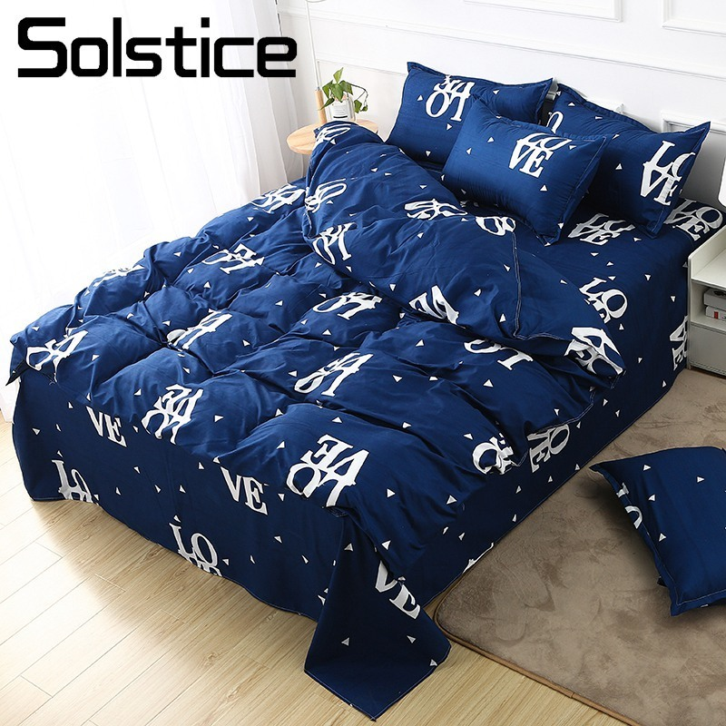 Solstice Bed Linen Bedding-Set Duvet-Cover Blue Love Pillowcase Sheet Twin-Bedclothes