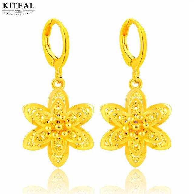 cf39fe1d67b05 Newest pure yellow gold color earing 24K GP 5 petals flowers drop earrings  for women boucle