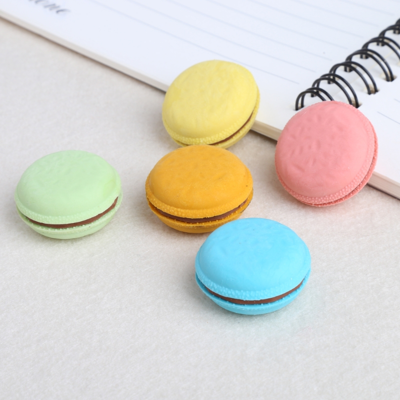5Pcs Colorful Macaron Shape Eraser School Office Stationery Supplies Gift Decor