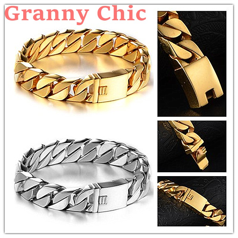 Granny Chic High Quality 8 6 15mm Wide Silver font b Gold b font color Curb