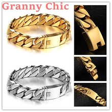 Granny Chic High Quality 8.6″ 15mm Wide Silver Gold color Curb Cuban Link 316L Stainless Steel Bracelet Mens Boys Unisex Jewelry
