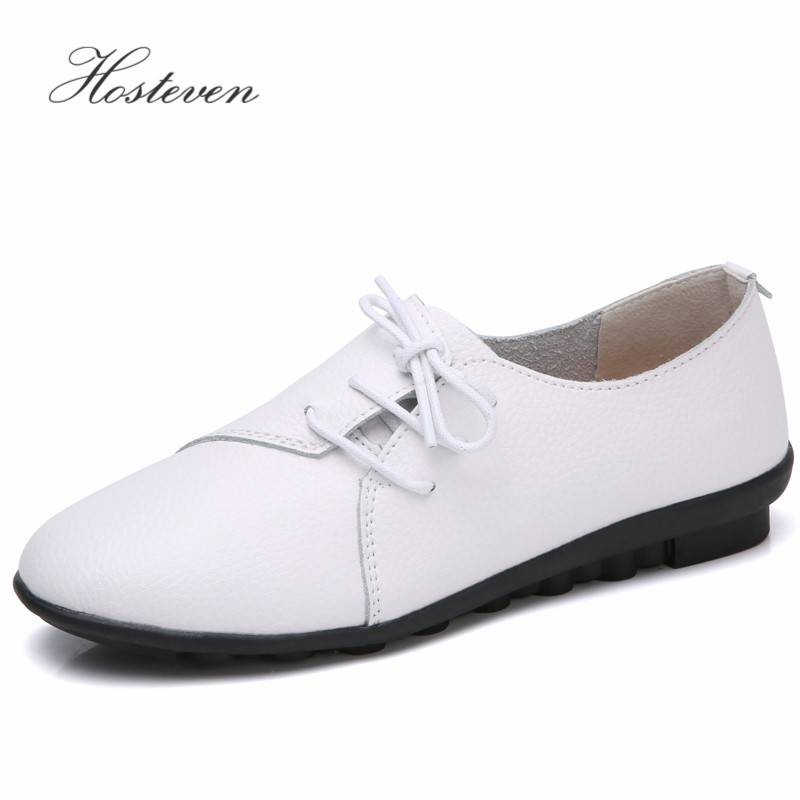 Hosteven Women's Shoes Leather Loafers Comfortable Shoes Woman Flats Mocassins Solid Ladies Casual Shoe Mother Footwear