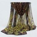 new fashion style  Women Chiffon flowers Scarves women's scarf long shawl spring silk pashmina chiffon infinity scarf FD044