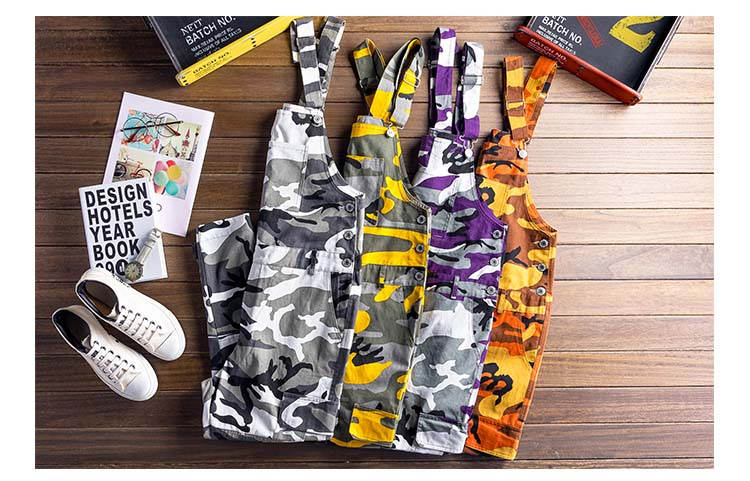 Fashin Men\`s Camouflage Denim Jumpsuit Pants Designer Multi-pockets Man Skinny Slim Fit Bib Overalls Casual Trousers For Male (4)