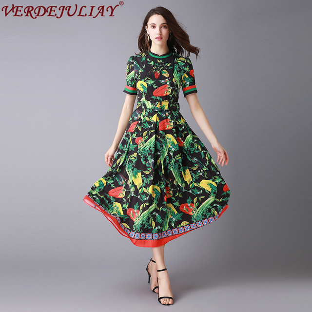 Prairie Chic Dresses 2019 Women Fashion Early Spring Vegetable Print Short Sleeve Belt Mid Calf