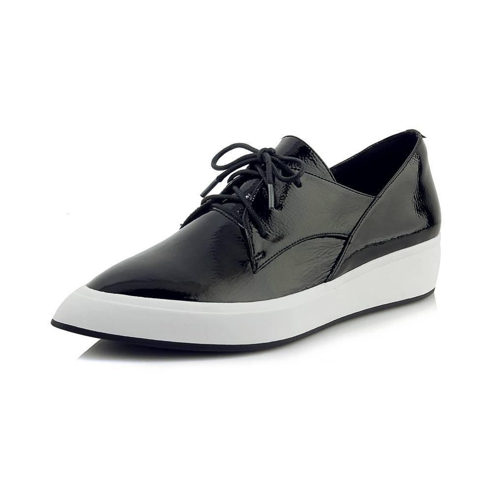Lacets Noir En apricot Pot Cuir Clubwear Pointu Conception Plat forme Simple L06 Krazing Sneakers Chaussures Respirant Bout Vache Plate Datant À Vulcanisées 1gwRqI0d