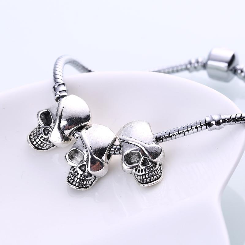 Vintage Silver Metal Skull Charms Beads Fit Pandora Diy European Pirate Skull Beads for Pandora Jewelry Making 20pcs/lot BC982