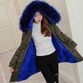 Azul Faux Fur Coat Mujeres Abajo Chaqueta de Invierno Parkas Grande de piel Con Capucha Caliente Outwear Thcker Ropa de Franela Caliente Señoras de La Muchacha clothing