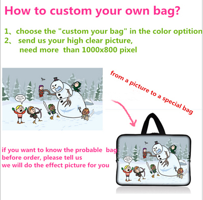 Customized custom notebook laptop tablet bag for 7.9  9.7 11.6 13.3 14.4 15 15.6 17 17.3 print Picture on laptop sleeve case