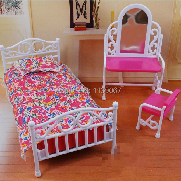 Dollhouse Princess Mirror Mattress Set Furnishings Youngsters Child Toys Women Birthday Present Bed room Equipment For Barbie Ken Doll