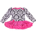 Newborn Dress Baby Clothes Girls Retro Floral Rompers Ruffle Tutu Dresses Baby Girl Dress Outfit for 0-24Months