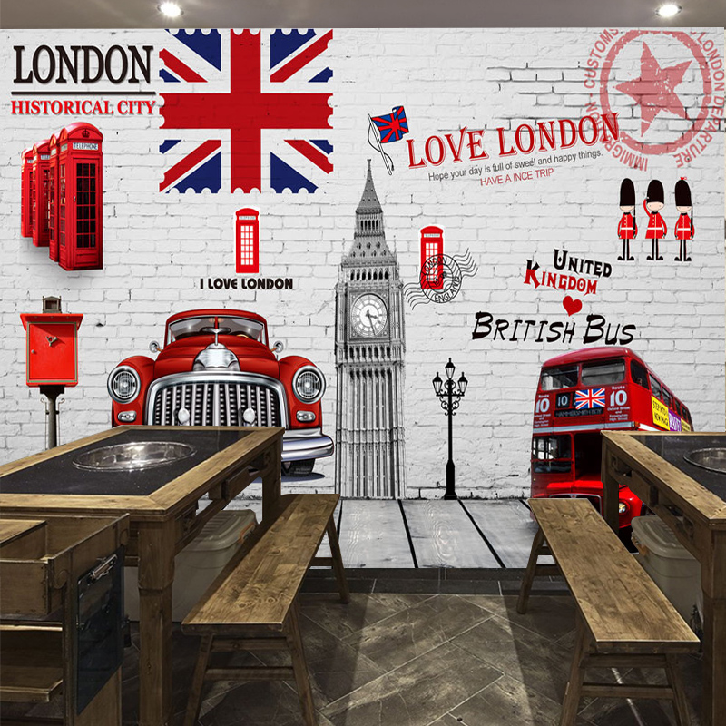 Custom Size Photo 3D London retro mural bar box Cafe KTV background wall tea restaurant wallpaper mural custom photo wallpaper large mural retro old newspaper english letter bar hot pot restaurant background wall wallpaper mural
