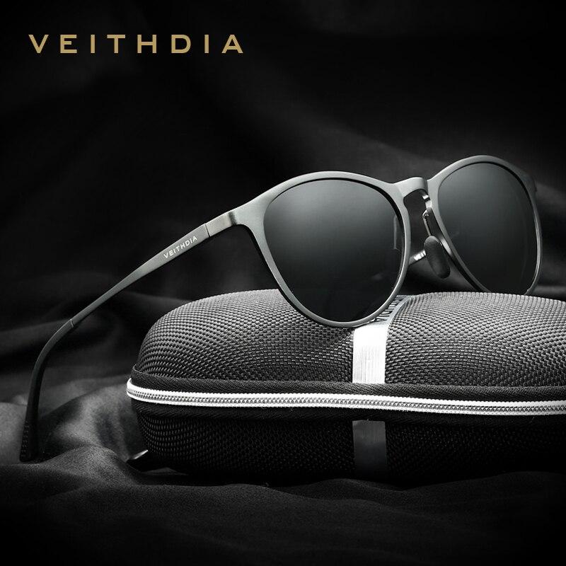 VEITHDIA Unisex Retro Aluminium Magnesium Spiegel Sonnenbrille Polarisierte Linse Vintage Brillen Fahren Sonnenbrille Männer/Frauen 6625