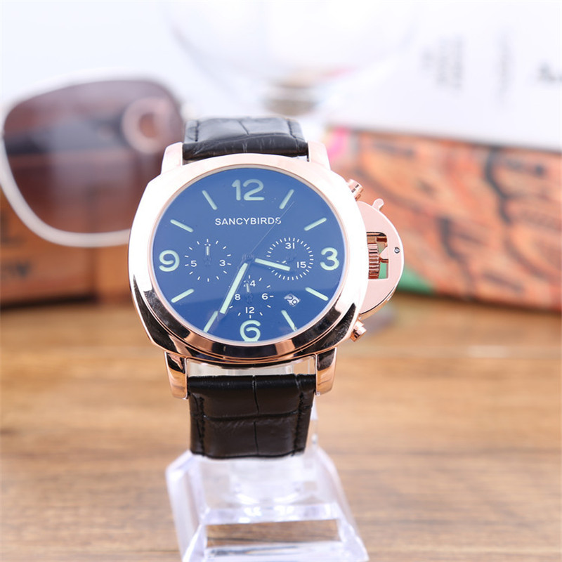 Hot Sale SANCYBIRDS Men Watch Top Fashion Brand Male Real Leather Strap 45mm Large Dial Waterproof Clock Business Luminous Watch