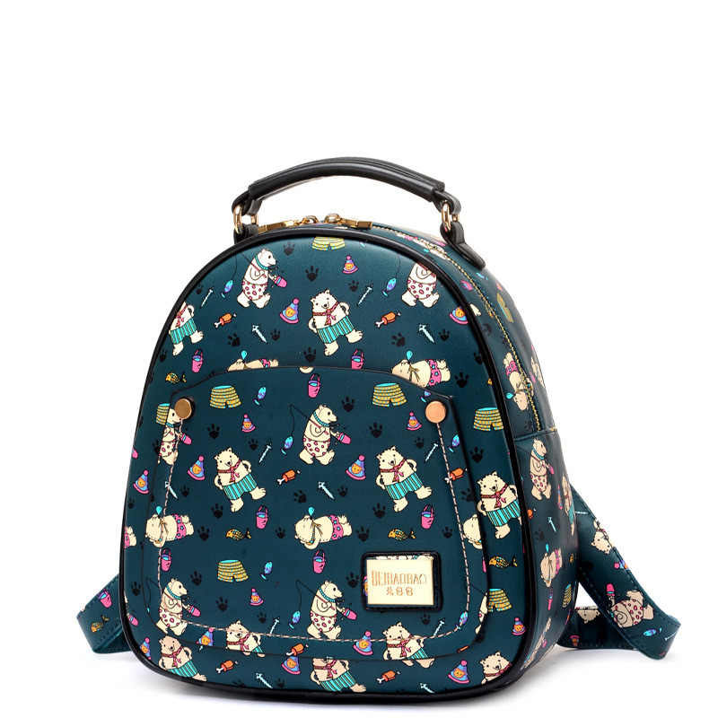 ФОТО Female Women Cute Travel Casual School Faux PU Leather Backpack Bear Printing Ladies Girls Backpacks Daypack Mochila Tote Bag