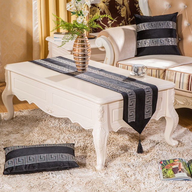 European Stripe Crystal Strip Table Runner Placemats Fabric Coffee Table  Flag Bed Runner Leopard