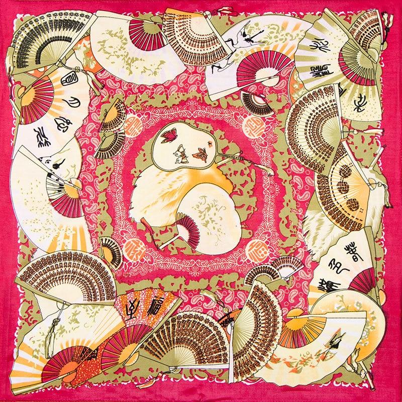 100% Silk Scarf Women Scarf Chinese Fans Foulard Neckerchief Print Small Square Silk Scarf 2018 Mini Silk Bandana Gift for Lady
