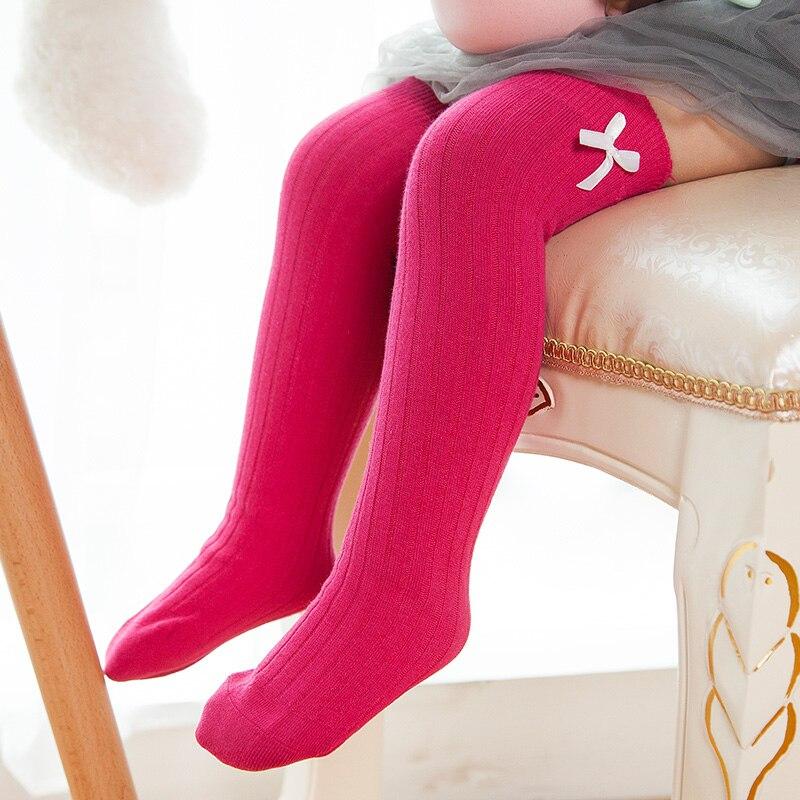 High Quality Sweet Kids Baby Girls Sock Cotton Toddlers Leg Warmers Korean High Over Knee Bow Soft Princess Long Socks White #3