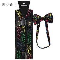 Winfox Vintage Multicolor Wide Music Note Suspenders Bowtie Brace For Women Men Black Suspensorio