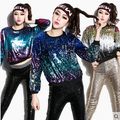 women fashion whole body sequined jacket long-sleeve pullover sweatshirt or hoodies