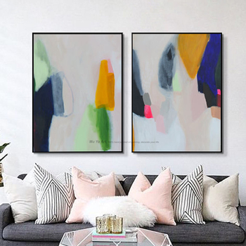 2 piece Hand painted canvas oil painting living room pictures on the wall Nordic wall pictures painting canvas abstract modern