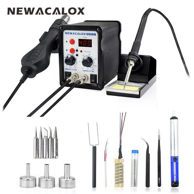 NEWACALOX EU Plug 220V 700W  Rework Soldering Station Thermoregulator  Soldering Iron Hot Air Desoldering Gun Welding Tool Kit 2