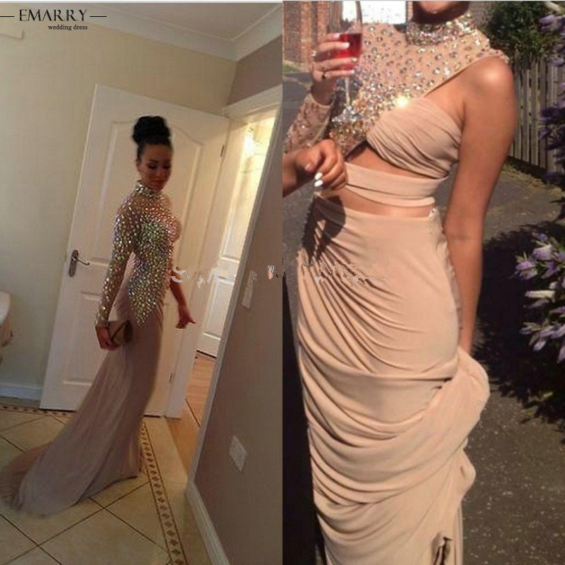 ZZ0514 2018 Special Design Full Sleeve Celebrity Dresses High Neck Crystal Chiffon Floor Length Red Carpet Gown Celebrity Dress