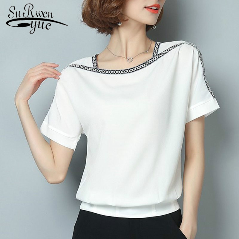summer new 2019 chiffon women blouse shirt causal plus size short sleeve women tops solid white red yellow color blusas 0370 30