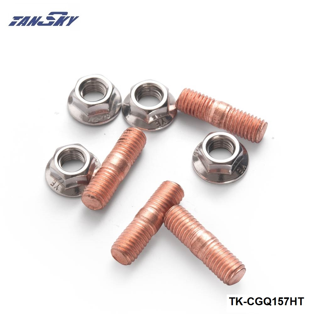 4 x exhaust manifold studs nuts m10 thread x 52mm length turbo metric