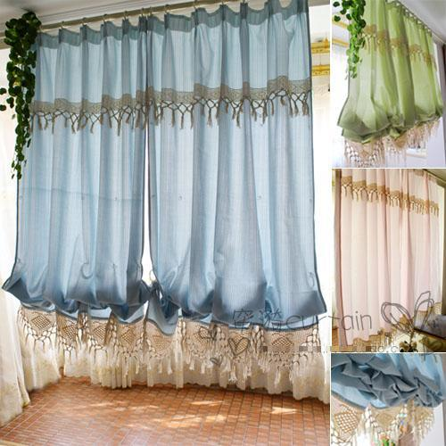 Buy high quality hot sale balloon curtains pastoral curtains for kitchen window for Balloon curtains for living room