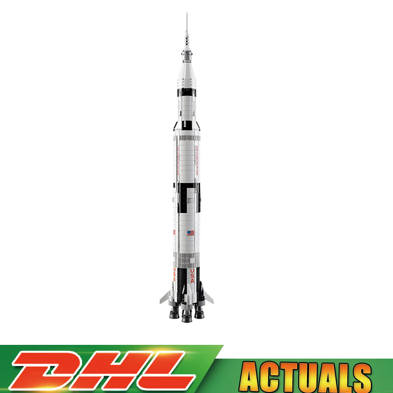 Lepin 37003 1969Pcs Creative The Apollo Saturn V Launch Vehicle Set Children Building Blocks Bricks Toy Legoings 21309 1969pcs apollo saturn v model building blocks 37003 assemble children kid toy bricks compatible with lego