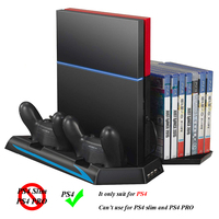 PS4 Console Vertical Stand Joystick Charging Station Dock with Game Discs Storage Bracket for Sony Play Station 4 PS4