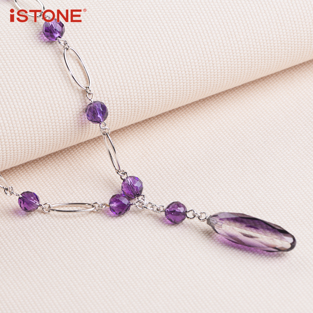 iSTONE 100% բնական Gemstone մանյակ Fine Steel Chain Water - Նուրբ զարդեր - Լուսանկար 3