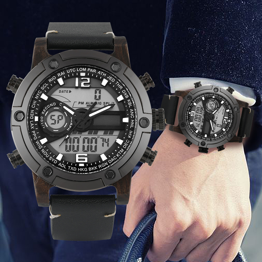 Men's Quartz Wooden Watch Multifunctional Digital Pointer Double Display Wooden Watch Leather Strap Wristwatch(China)