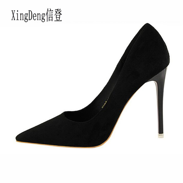 XingDeng Ol Lady Shallow Pointe Toe Flock Sexy Party Dress Stilettos Shoes  Design Spring High Heels Women Pumps Shoes Women e77faba24e80