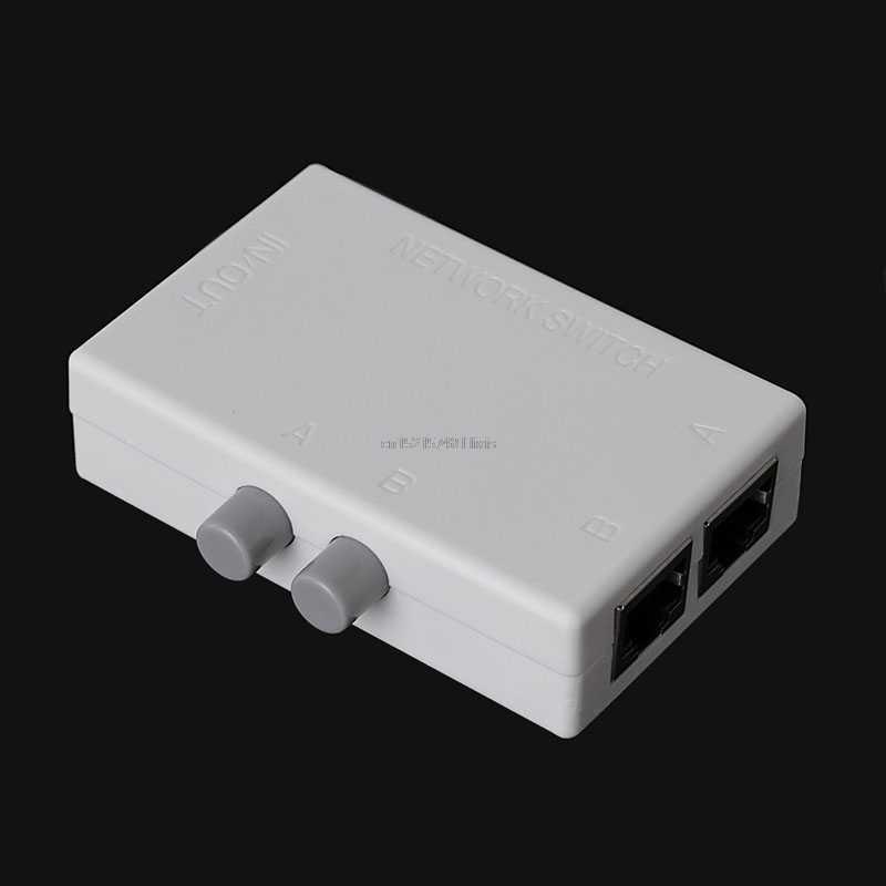 2018 novo mini 2 portas ab rede manual de compartilhamento caixa interruptor 2in1/1in2 rj45 rede/ethernet