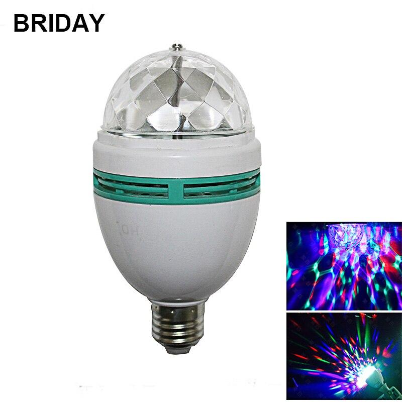 220V 110V RGB LED Light Bulbs E27 6W Disco Light Colorful Auto Rotating Stage Light RGB LED Lamp for Parties Holiday Lighting