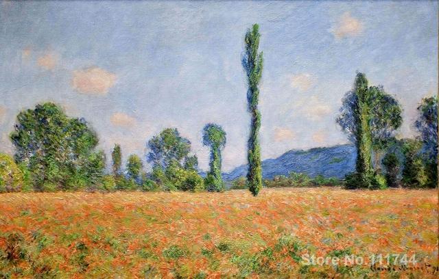 Paysage peintures Champ de Coquelicots dans Giverny II par Claude ...