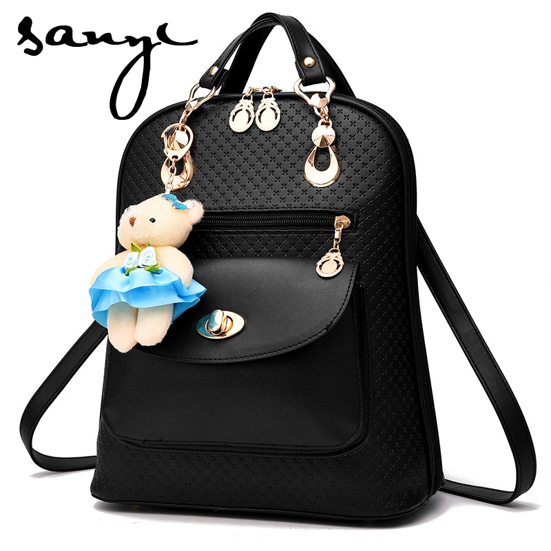 SANYI Fashion Women Backpack High Quality Youth Leather Silt Pocket Teenage Girl Female School Shoulder Zipper